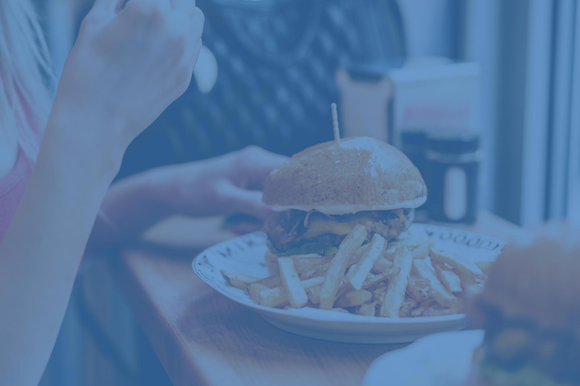 Dining Background image showing hamburger and french fries