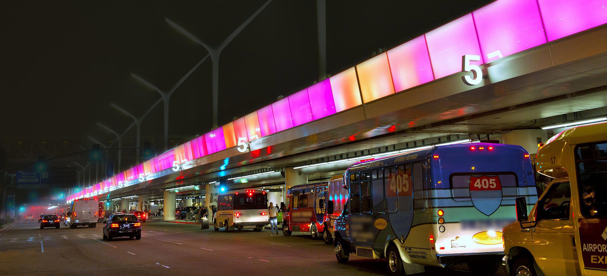 Traffic background image showing terminal 5 at night